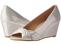 Nina Edelia Silver Reflective Suedette Women's Wedge Shoes White