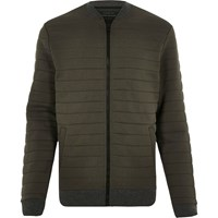 River Island Mens Dark Green Quilted Bomber Jacket