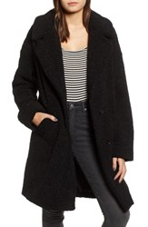 Kendall Kylie Faux Fur Teddy Coat Black