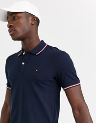 Celio Polo Shirt In Navy With Tipping