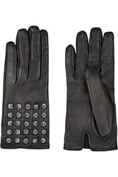 Valentino Pave Studded Leather Gloves Black