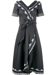 Peter Pilotto Embroidered Wrap Dress Blue