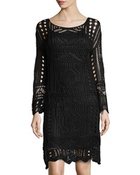 Neiman Marcus Crochet Long Sleeve Dress Black