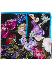 Dolce And Gabbana Floral Scarf Black