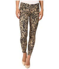 7 For All Mankind The Ankle Skinny In Royal Leopard Royal Leopard Women's Jeans Yellow