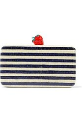 Kayu Woman Veda Striped Woven Straw Clutch Midnight Blue