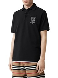 Burberry Patch Cotton Pique Polo Shirt Black
