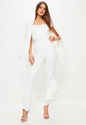 Missguided White Draped Frill Side Cigarette Trousers