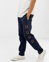 Tommy Jeans 6.0 Limited Capsule Joggers With Repeat Crest Logo In Navy Dark Sapphire