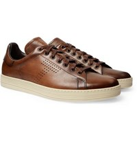 Tom Ford Warwick Burnished Leather Sneakers Brown
