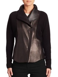 Akris Hassan Cashmere And Leather Jacket Black