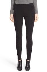 Lafayette 148 New York Women's 'Aubrey' Knit And Faux Suede Leggings Black