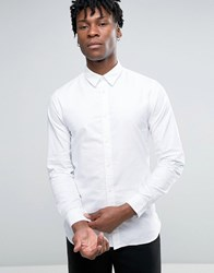 Selected Homme Long Sleeve Slim Fit Oxford Shirt With Hidden Button Down Collar White