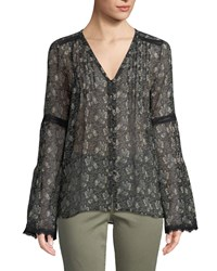 Paige Clio V Neck Bell Sleeves Floral Print Sheer Silk Blouse W Lace Multi