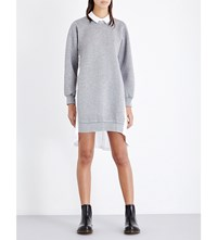 Izzue Pleated Cotton Poplin And Jersey Shirt Dress Grey