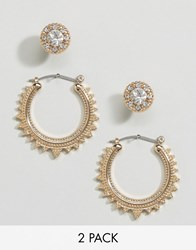 Asos Pack Of 2 Triangle Etched Hoop And Stud Earrings Gold