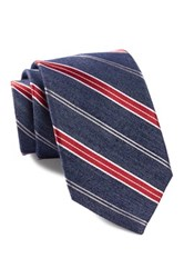 Ben Sherman Stripe Silk Tie Red