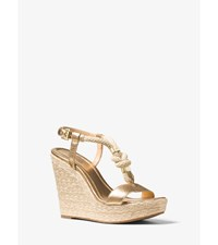 Holly Rope Trim Metallic Leather Wedge Pale Gold
