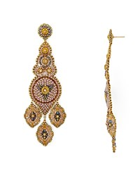 Miguel Ases Beaded Blush Chandelier Drop Earrings Gold