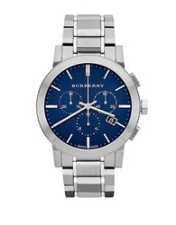 Burberry Mens City Silver Tone Chronograph Watch