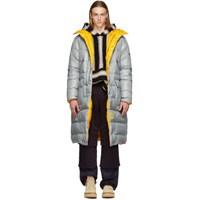R 13 R13 Grey Down Long Puffer Anorak