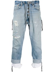 Greg Lauren Low Slung Zipped Jeans Blue