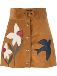 Red Valentino Applique A Line Skirt Nude Neutrals