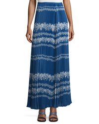 Self Portrait Pleated Flower Spell Maxi Skirt Cobalt Blue Cream Cream Cobalt Blue