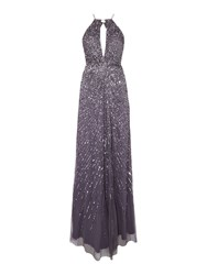 Adrianna Papell Keyhole Halter Beaded Gown Grey