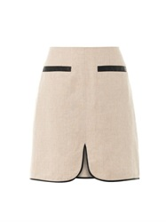L'agence Linen Faux Leather Trim Skirt