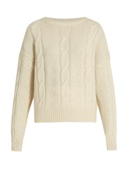 Nili Lotan Felice Cable Knit Alpaca Blend Sweater Ivory