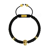 Clariste Jewelry Men's Ceramic Bead Bracelet Black With Gold Skull