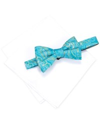 Countess Mara Men's Martin Paisley Pre Tied Bow Tie And Solid Pocket Square Set Aqua