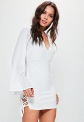 Missguided White Flare Sleeve Plunge Double Lace Up Dress