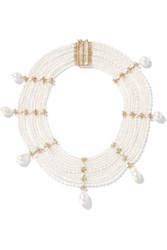 Rosantica Dafne Gold Tone Freshwater Pearl Necklace White