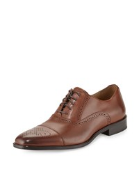 Neiman Marcus Barletta Leather Cap Toe Oxford Tan