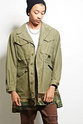 Forever 21 Cross Colours Camo Hem Jacket Olive Hunter Green