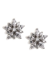 Lord And Taylor Sterling Silver Cubic Zirconia Flower Earrings
