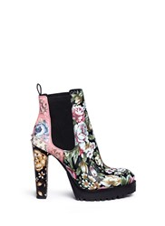 Alexander Mcqueen Embroidered Floral Print Stud Leather Chelsea Boots Multi Colour