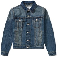 Ami Alexandre Mattiussi Pocket Logo Denim Jacket Blue