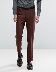 Asos Skinny Suit Trousers In Herringbone Rust Wool Blend Rust Tan