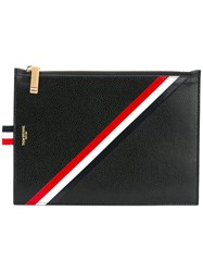 Thom Browne Striped Print Zipped Purse Men Calf Leather One Size Black
