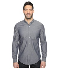Dockers Premium Long Sleeve Weathered Oxford Pembroke Pattern Men's Clothing Gray