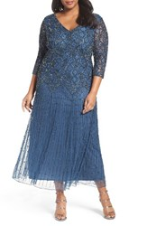 Pisarro Nights Plus Size Women's Beaded V Neck Lace Illusion Gown Blue