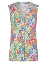 East Linen Aloha Print Sleeveless Shirt Multi