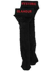 Hysteric Glamour Fishnet Logo Knee High Socks Black