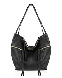 Kooba Elton Nubuck Leather Hobo Black Silver