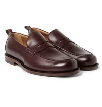 Gucci Stripe Trimmed Leather Penny Loafers Burgundy