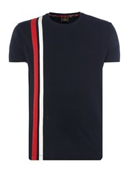 Merc Men's Belmont Racer Stripe Short Sleeve T Shirt Navy