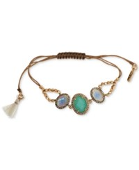 Lonna And Lilly Gold Tone Pave Stone Tassel Beaded Slider Bracelet Blue Green